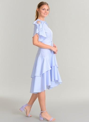 Çizgili Volanlı Elbise-Agenda